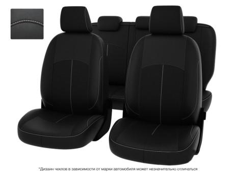 """Чехлы  Mazda 3 13-> H черный/отстрочка белая, экокожа """"Оригинал"""""""