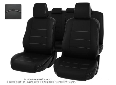 """Чехлы  Mazda 6 07-12 S черный/отстрочка белая, экокожа """"Оригинал"""""""