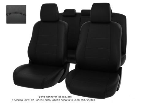 """Чехлы  Mazda 6 07-12 S черный/отстрочка черная, экокожа """"Оригинал"""""""