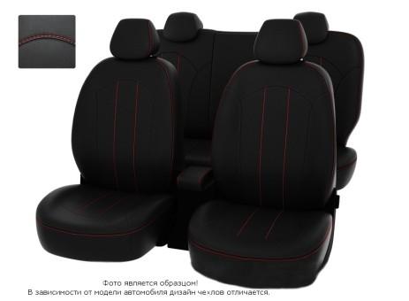 """Чехлы  Mazda CX-5 2011-2015 40:20:40 зад.сид черный/отстрочка красная, экокожа """"Оригинал"""""""