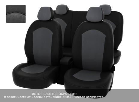"""Чехлы  Mazda CX-5 2015-> Рестайлинг 40:20:40 зад.сид черная экокожа + серая алькантара """"Оригинал"""""""