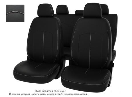 """Чехлы  Mitsubishi Outlander 06-> XL черный/отстрочка белая, экокожа """"Оригинал"""""""
