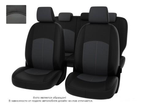 """Чехлы  Nissan Almera IV 12-> дел. чер-сер экокожа """"Оригинал"""""""
