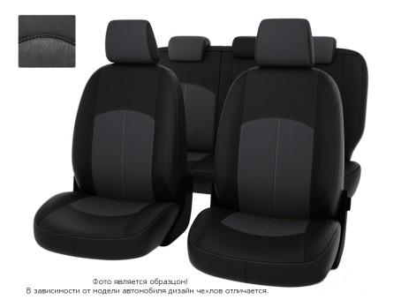 """Чехлы  Nissan Almera IV 12-> дел. черная экокожа + серая алькантара """"Оригинал"""""""
