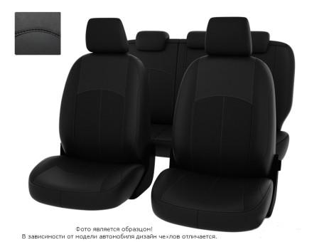 """Чехлы  Nissan Almera IV 12-> дел. черный/отстрочка черная, экокожа """"Оригинал"""""""