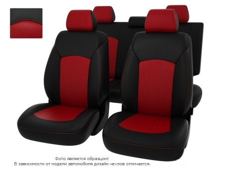 "Чехлы  Nissan Juke 10-> чер-красн экокожа ""Оригинал"""