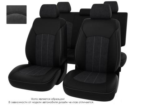 """Чехлы  Nissan Juke 10-> черная экокожа + серая алькантара """"Оригинал"""""""