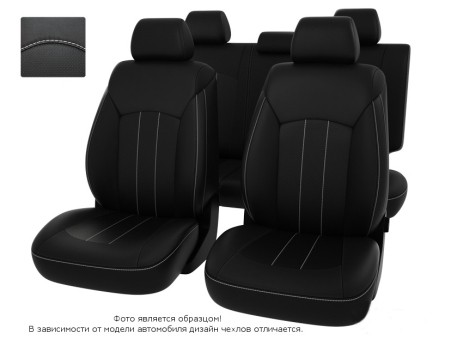"""Чехлы  Nissan Juke 10-> черный/отстрочка белая, экокожа """"Оригинал"""""""