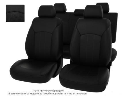 """Чехлы  Nissan Juke 10-> черный/отстрочка черная, экокожа """"Оригинал"""""""