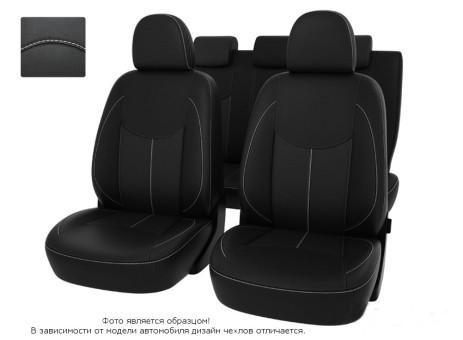 """Чехлы  Peugeot 308 08-> H черный/отстрочка белая, экокожа """"Оригинал"""""""