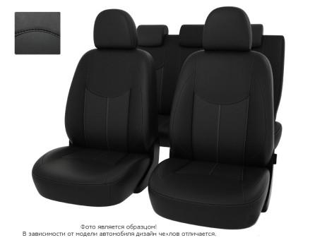 """Чехлы  Peugeot 308 08-> H черный/отстрочка черная, экокожа """"Оригинал"""""""