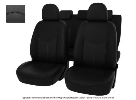 """Чехлы  Toyota Corolla 13->черный/отстрочка черная, экокожа """"Оригинал"""""""