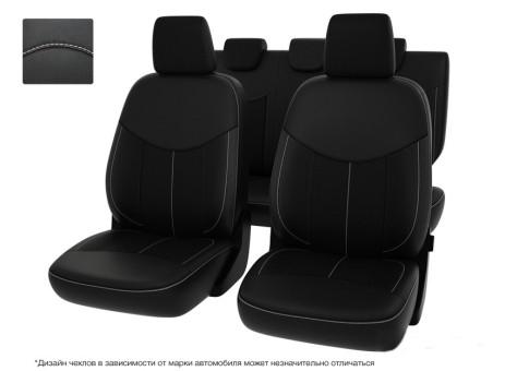 """Чехлы  VW Amarok 10-> черный/отстрочка белая, экокожа """"Оригинал"""""""