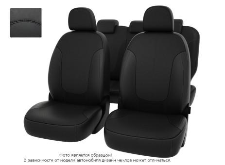 Чехлы  Chevrolet Spark III 09-> черный/отстрочка черная, экокожа *Оригинал*