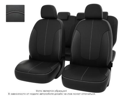 Чехлы  Chevrolet Spark III 09-> черный/отстрочка белая, экокожа *Оригинал*