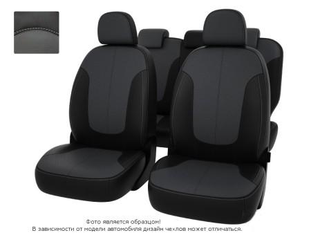 Чехлы  Chevrolet Spark III 09-> чер-сер экокожа *Оригинал*