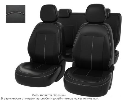 """Чехлы  Chevrolet Cobalt 13->черный/отстрочка белая, экокожа """"Оригинал"""""""