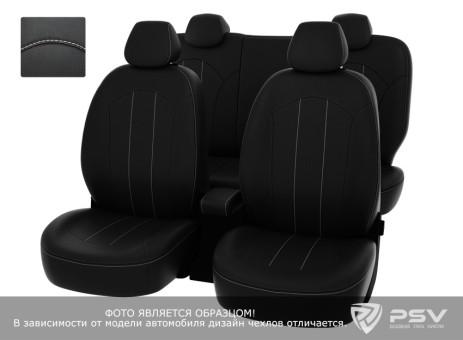 """Чехлы  Ford Kuga II Trend 13-> черный/отстрочка белая, экокожа """"Оригинал"""""""