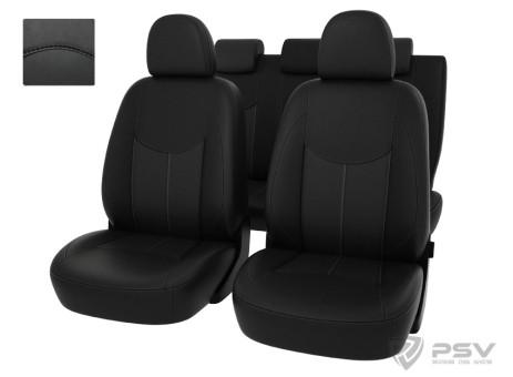 """Чехлы  Ford Kuga II Trend 13-> черный/отстрочка черная, экокожа """"Оригинал"""""""