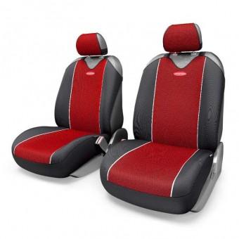 Чехлы-майки Автопрофи Carbon Plus (2 шт, перед) - черно-красные