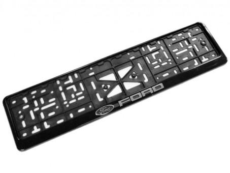 Рамка для номера с логотипом Ford (с нижней защелкой, черная)