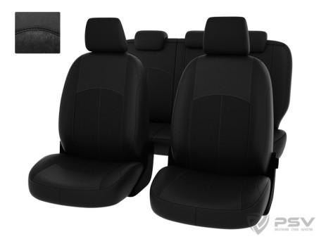 """Чехлы  Ford Mondeo 07-> Trend черная экокожа + черный нубук """"Оригинал"""""""