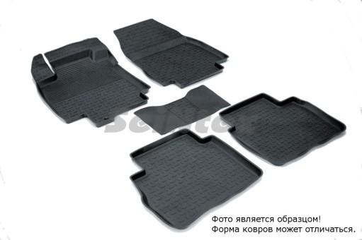 Коврики Nissan Tiida 2004-2014 г. - резиновый с выс. борт. (Seintex)   01560