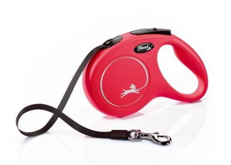 Рулетка Flexi Classic New M, лента, 5 м, красная