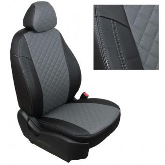 Чехлы Автопилот VW Polo (2009>) Sd, раздел. - черно-серые, ромб