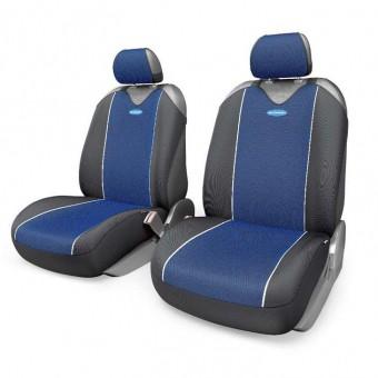 Чехлы-майки Автопрофи Carbon Plus (2 шт, перед) - черно-синие