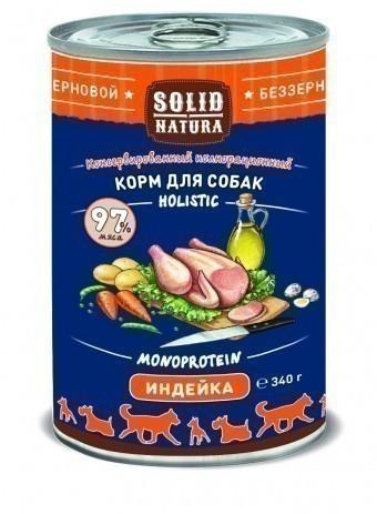 Консервы для собак Solid Natura Holistic, индейка, 340 г