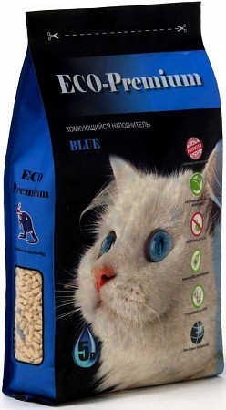 Наполнитель кошачьего туалета ECO Premium Blue (древесный, 1,9 кг, 5 л, без запаха)