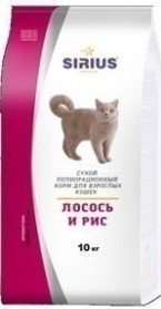 Сухой корм для кошек Sirius, лосось и рис (10 кг)