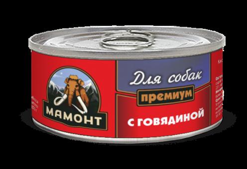 Консервы для собак Мамонт Премиум, фарш говяжий (100 г)