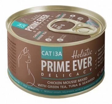 Консервы для кошек Prime Ever Delicacy Мусс 3A, цыпленок с тунцом с зеленым чаем и водорослями  (80 г)