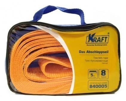 Трос буксировочный Kraft Premium лента 8 т (без крюков, 5 м, сумка)