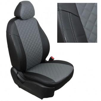 Чехлы Автопилот Hyundai Santa Fe II (2006>) - черно-серые, ромб