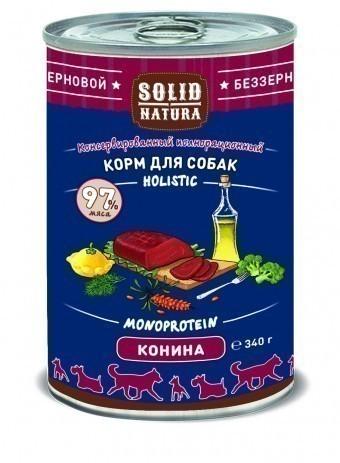 Консервы для собак Solid Natura Holistic, конина, 340 г
