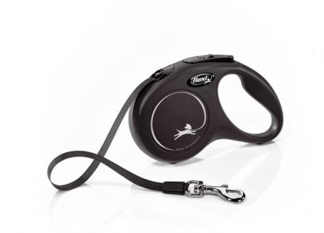 Рулетка Flexi Classic New S, лента, 5 м, черный