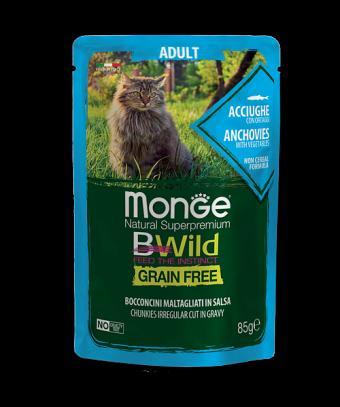 Пауч для кошек Monge BWild Grain Free - Bocconcini Acciughe Adult (85 г)