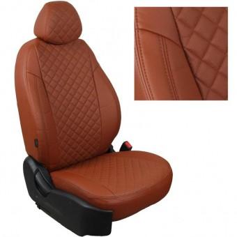 Чехлы Автопилот VW Polo (2009>) Sd, раздел. - коричневые, ромб