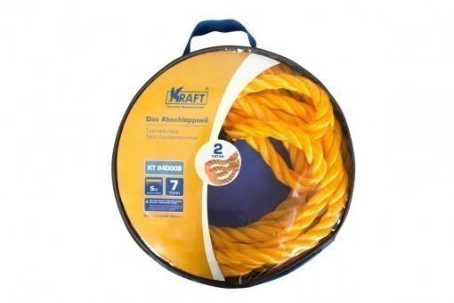 Трос буксировочный Kraft канат 7 т (без крюков, 5 м, сумка)