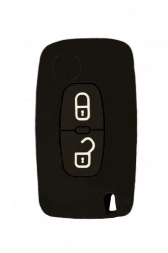 Чехол силиконовый для выкидного ключа Peugeot 2 кн. (Citroen 207, 307, 308, черный)