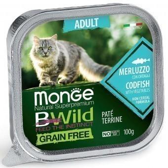 Паштет для кошек Monge BWild Grain Free - Pate terrine Merluzzo, Adult (100 г)