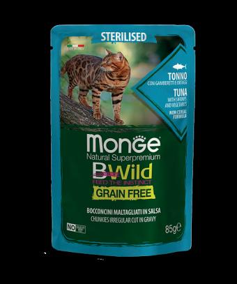Пауч для кошек Monge BWild Grain Free - Bocconcini Tonno Sterilised (85 г)