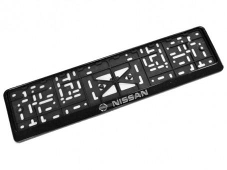Рамка для номера с логотипом Nissan (с нижней защелкой, черная)