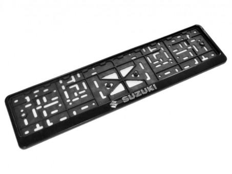 Рамка для номера с логотипом Suzuki (с нижней защелкой, черная)
