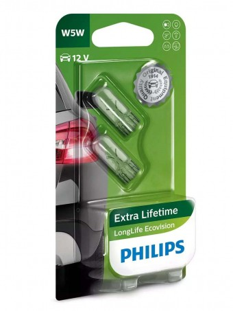 Лампы Philips W5W LongLife EcoVision (12 В, блистер, 2 шт)