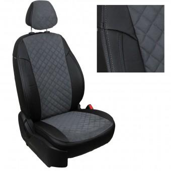 Чехлы Автопилот Hyundai Solaris I (2010>) Sd, раздел. - алькантара, ромб, черно-серые