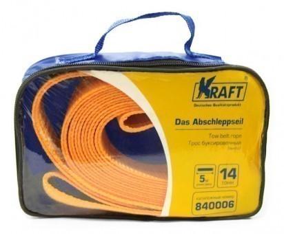 Трос буксировочный Kraft Premium лента 14 т (без крюков, 5 м, сумка)